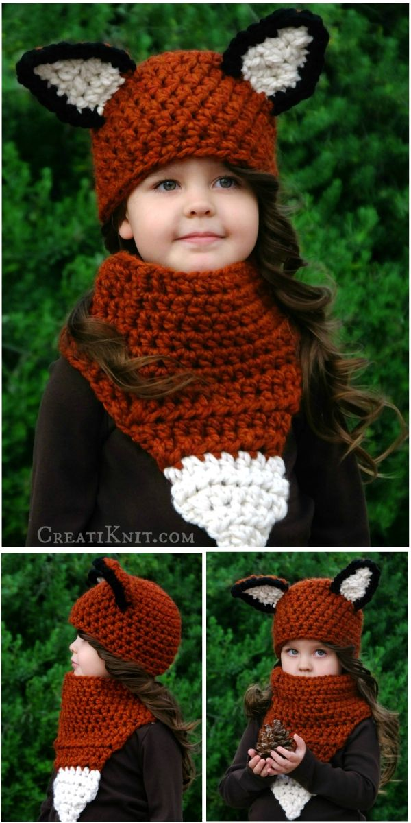 The Fáline Fox Hat and Cowl Crochet Pattern  Transform your little one into an adorable woodland Fox with this Fox hat and cowl crochet pattern!  Imaginative and fun, a warm and one of a kind set!  Pattern includes detailed instructions, along with a detailed photo tutorial for necessary techniques!  Find the crochet pattern here: http://www.creatiknit.com/shop/the-faline-fox-hat-and-cowl-crochet-pattern/