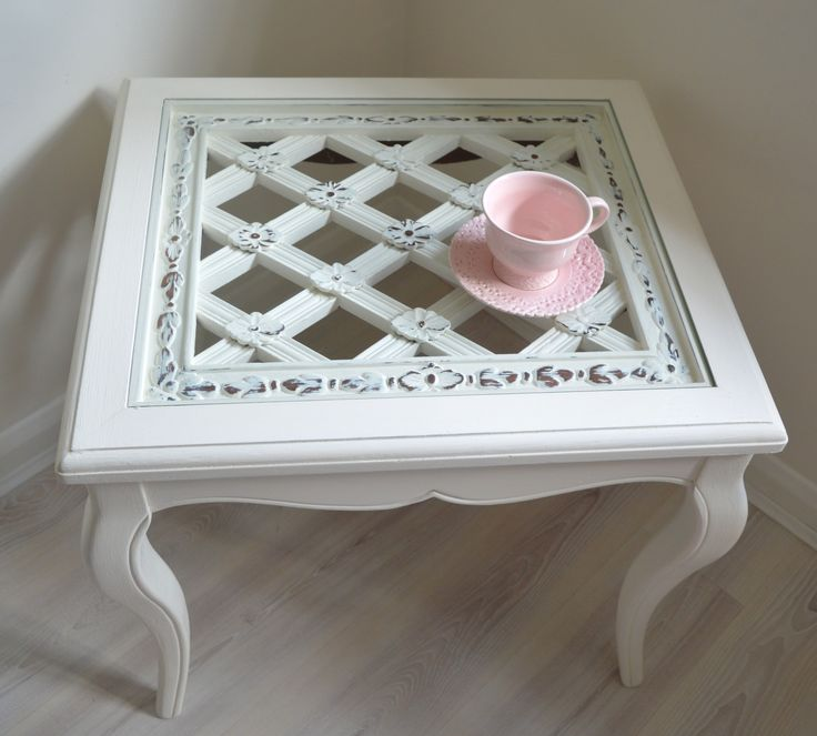 SOLD #lamaisonshabbychicvintage  Lattice Flower Carved Wood Shabby Chic Coffee Table Bevelled Glass Top Side End