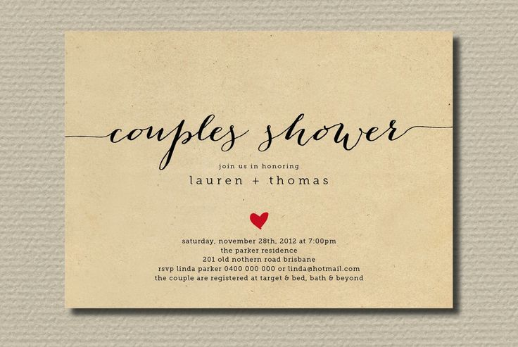 Couples Wedding Shower Invitations | Simple wedding shower invitation couples with heart | OneWed.com