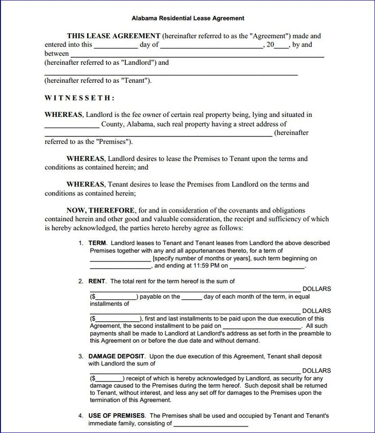 Printable Sample Rental Agreement Form: Printable Sample Residential Lease Form