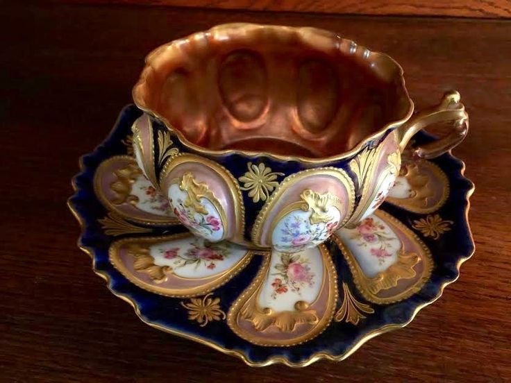 LG Antique French LONDE LIMOGES Palais Royal Cabinet Cup & Saucer JEWELED GOLD in Pottery & Glass, Pottery & China, China & Dinnerware | eBay