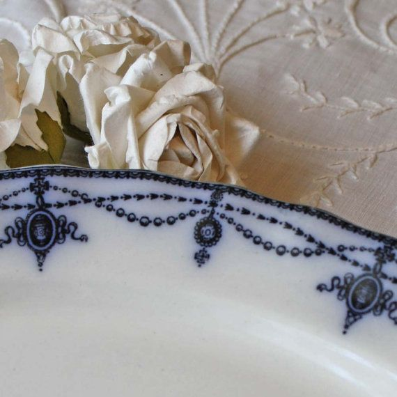 Antique Flow Blue China Plate or Platter by Cottonridgevintage, $75.00