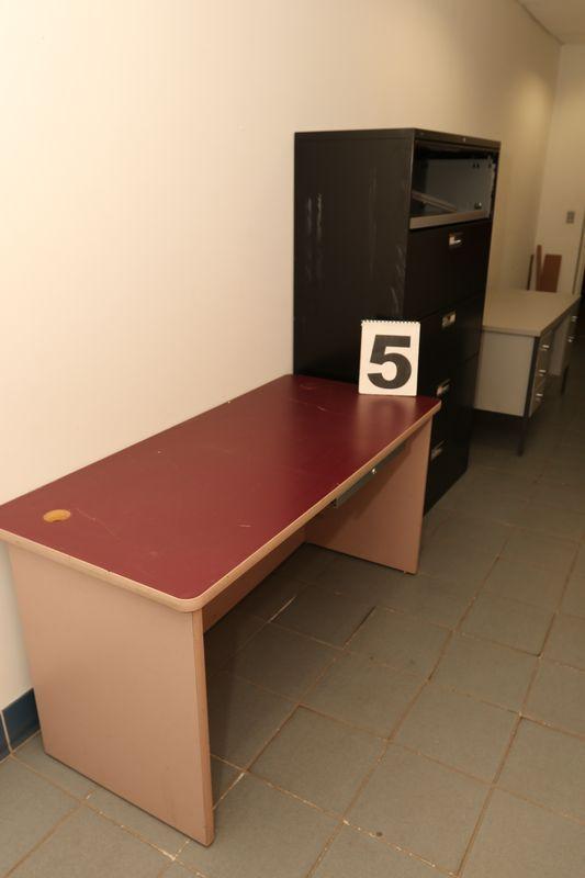 Office furniture incl five drawer metal desk, single drawer desk, & five drawer filing cabinet.