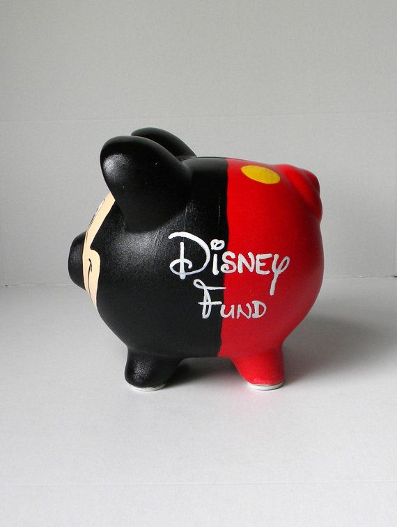 Hand Painted Mickey Inspired Piggy Bank Mickey by EmbellishCraft