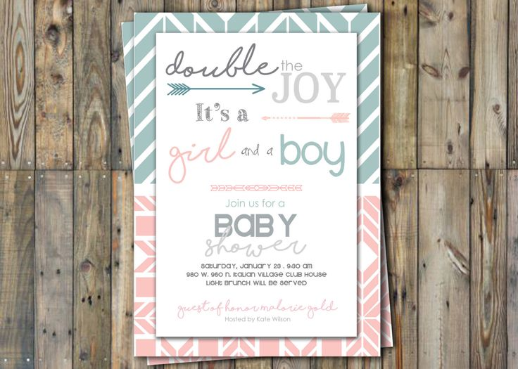 Twin Baby Shower Invitation - Twins - Boy & Girl- Personalized by SweetandSaltySisters on Etsy https://www.etsy.com/listing/264304660/twin-baby-shower-invitation-twins-boy