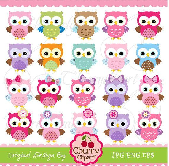 Cute Owls Digital Clipart Elements Set NO.AN022 by Cherryclipart