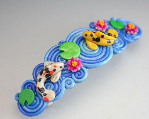 Koi Pond French Barrette in Fimo by StarlessClay on Etsy, $30.00