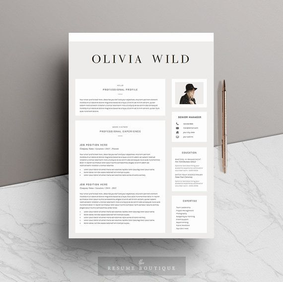 Resume Template 5 Pages CV Template Cover By TheResumeBoutique  Pages Resume Template