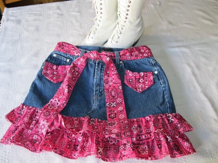 Country western Mini Denim Skirt