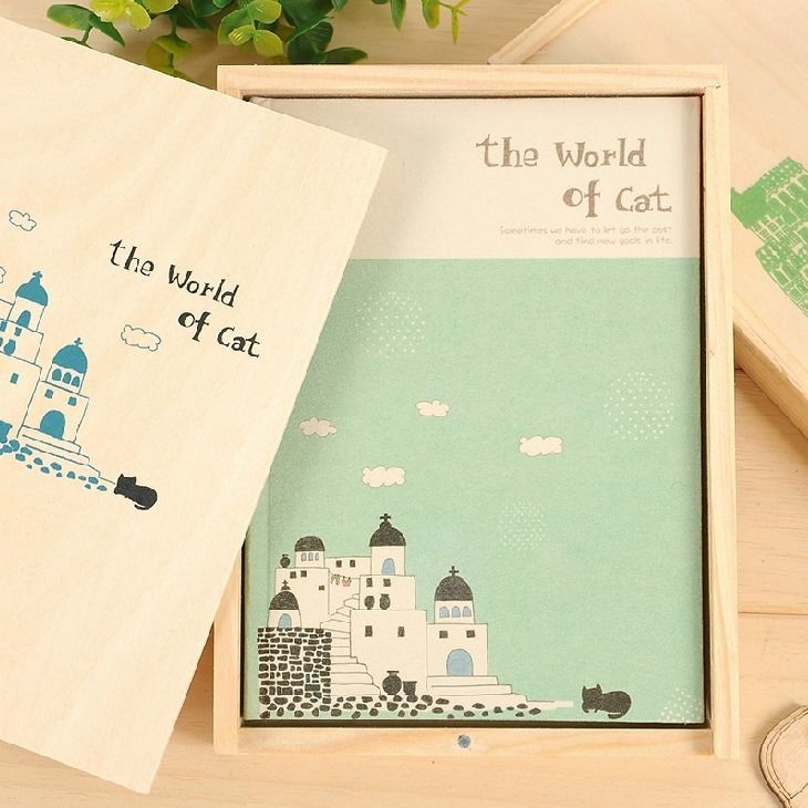 """Cat World"" 1pc Cute Blank Diary Planner Journal Wooden Box Study Notebook Memo #Unbranded"