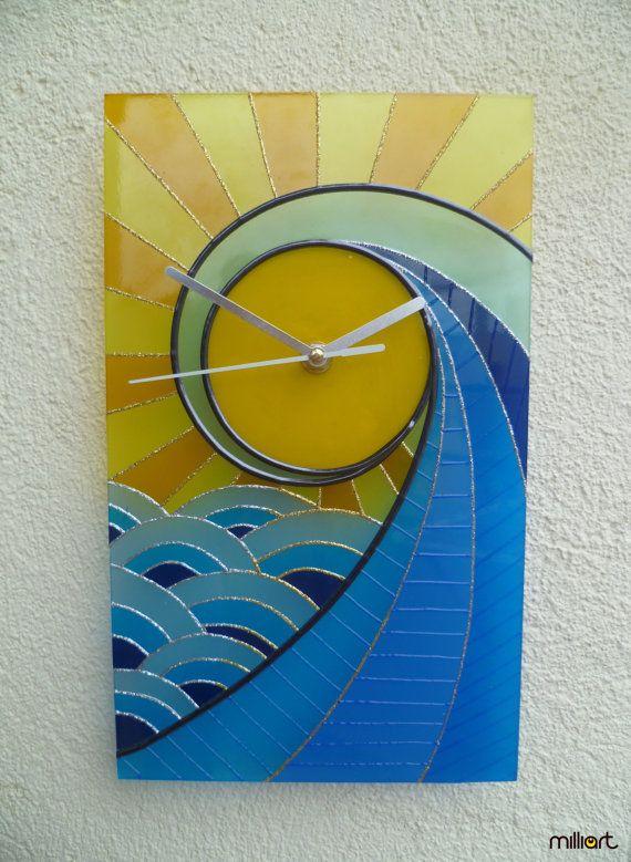 Hand Painted Glass Clock Sun Wave Wall Clock by MilliartGlass, $120.00