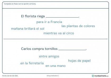 Ficha de terminar frases con la palabra adecuada para primaria