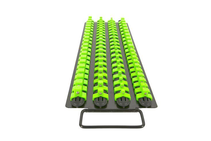 Olsa Tools | Socket Organizer Tray | Black Rails with Green Clips | Holds 80 Pcs Sockets