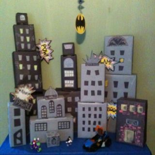 Gotham City Made Out Of Shoe Box S And Butcher Paper