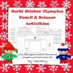 Winter Olympics Pencil and Cutting Skill Activities