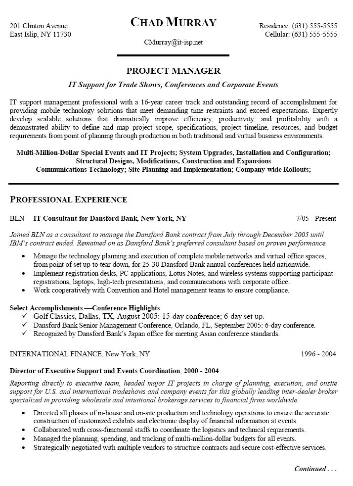 sample resume for it project manager