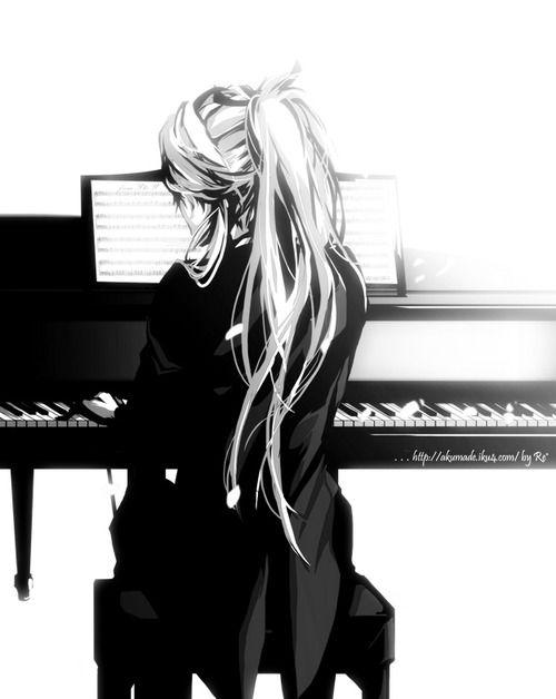anime, anime boy, art, black and white, black and white anime, blonde hair, boy, cute anime boy, cute boy, fashion, gakupo, kamui gakupo, long hair, manga, music, piano, purple hair, tux, tuxedo, vocaloid