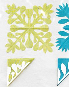 """These motifs, each a stylized take on a tropical flower, can be used interchangeably in the projects. Select one, and print the template suited to the technique. For an applique, use a partial-flower template, following """"Preparing the Appliques [link]."""" For stenciling, use the full-flower template."""