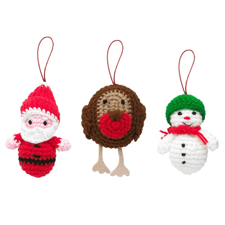 Set of 3 Santa, Snowman & Robin Crocheted Decorations | Christmas Decorations | CathKidston