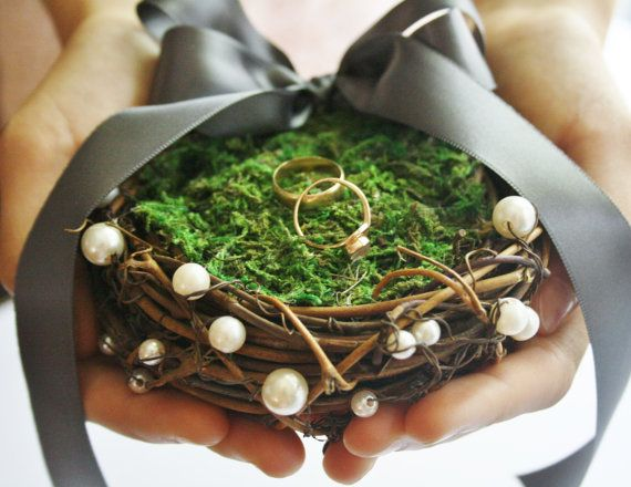 Ring bearer pillow Rustic bird nest ring by WildRoseAndSparrow