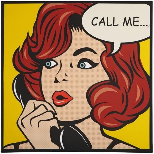 Call Me - Pop Art Style Canvas Print with Red Head