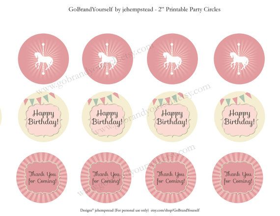Carousel Party Circles Cupcake Toppers Printable Instant