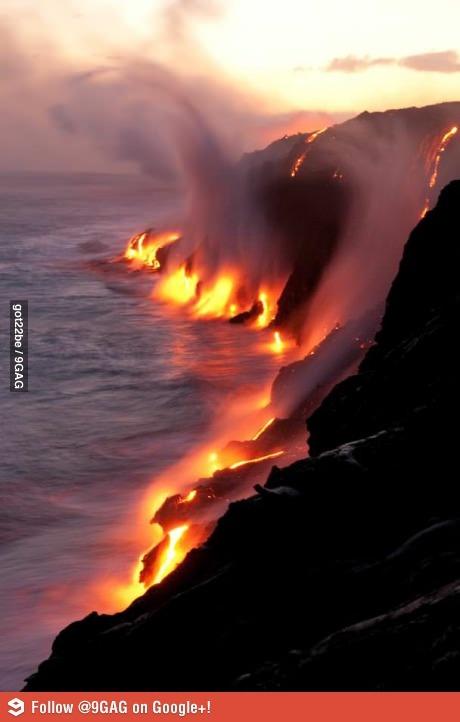 Lava vs Water (Hawaii) - http://www.onlineatlantic.com/lava-vs-water-hawaii/