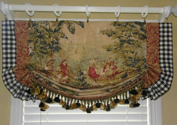 Custom Made French Country Bosporus Toile Vintage Red Covington Balloon Valance | eBay