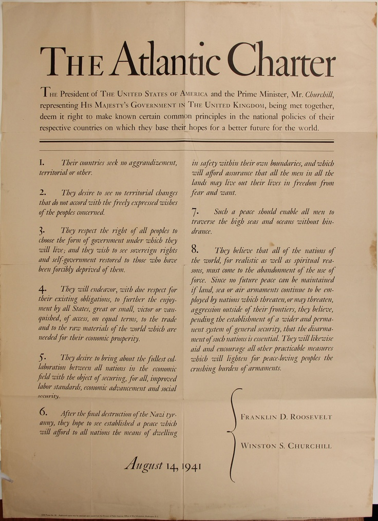 The Atlantic Charter broadside, designed by W.A. Dwiggins $2,500