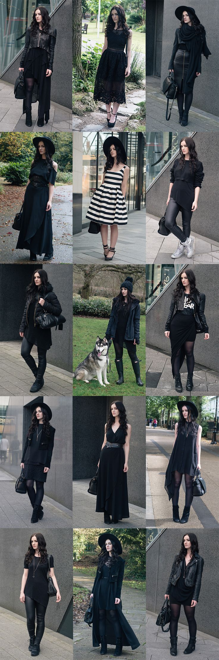 Fashion blogger Stephanie of FAIIINT all black everything dark street style goth…