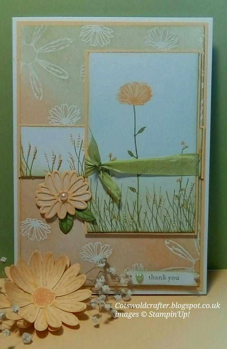Daisy Delight Card, just two colours, 'Pear Pizazz' and 'So Saffron' 'Daisy Delight' stamp set used to create whole card. #Cotswoldcrafter #DaisyDelight #Stampin'Up