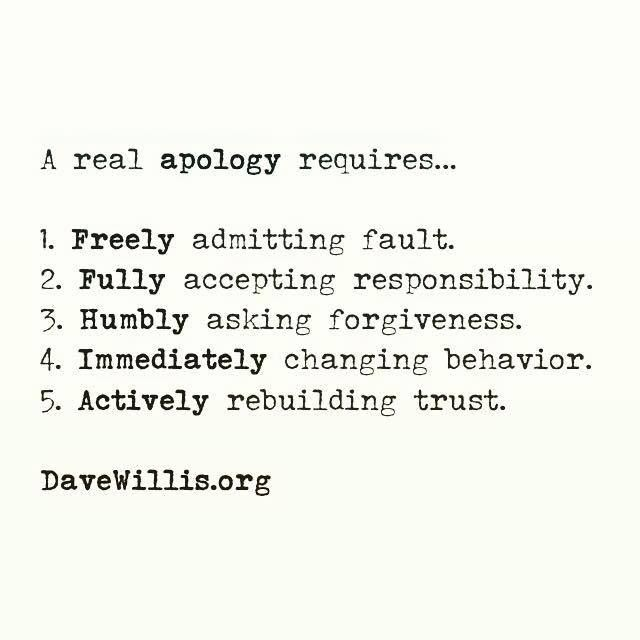 Dave Willis apology quote davewillis.org a real apology requires 5