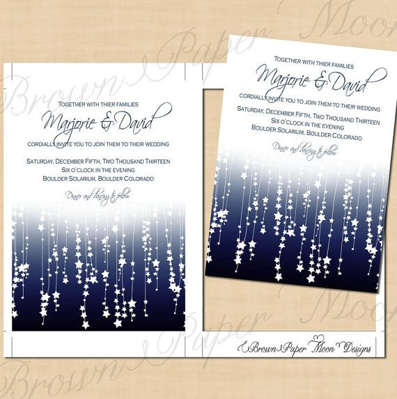 Star Streamers Printable Wedding Invitations: 5 x 7 - Instant Download. $14.00, via Etsy.