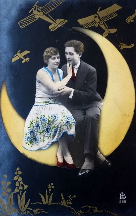 Over the Moon! 1920s hand tinted postcard
