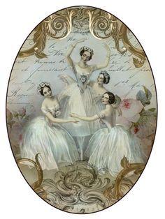 Vintage ballet label for print