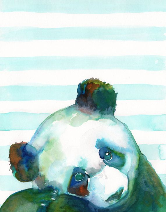 Baby PANDA bear WATERCOLOR nursery art print wild by SesCaniques, €12.00