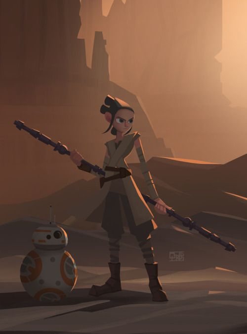 spassundspiele:  Rey – Star Wars: The Force Awakens fan art by Qarlos Quintero