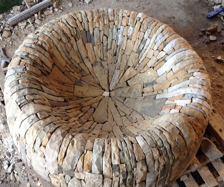 Dry stone firepit for Chelsea Flower Show garden 2015. The Time In Between Garden