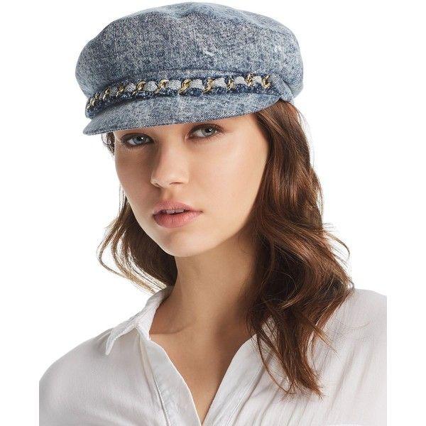 Eugenia Kim Marina Denim Newsboy Cap ($255) ❤ liked on Polyvore featuring accessories, hats, denim, news boy cap, baker boy, newsboy caps, eugenia kim hats and apple cap