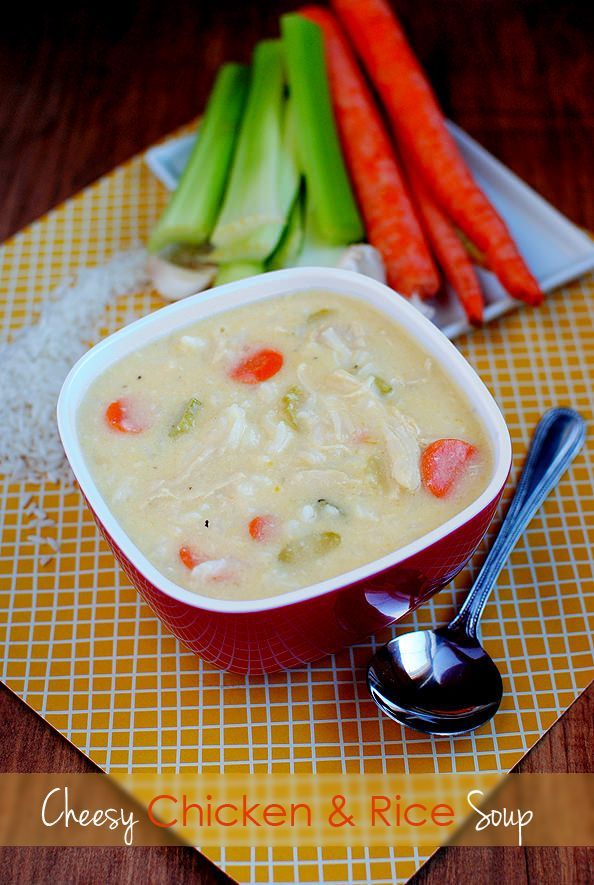 Cheesy Chicken & Rice Soup is super creamy, but has no heavy cream!   This is sooo good. Creamy, hearty and healthy (well besides the cheese). We ate every last drop of it. Keeps well for leftovers too!