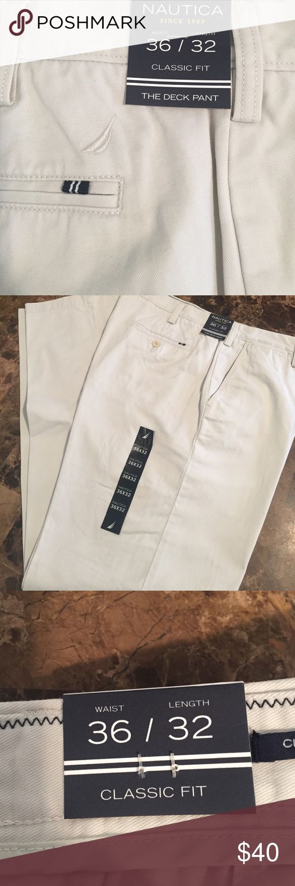 Brand New Nautica Men's Classic Fit pants 👖 Brand New Nautica Men's Classic Fit pants 👖waist 36 lenght 32 classic Fit color: light cream( PRICE IS FIRM PLEASE !) Nautica Pants Chinos & Khakis