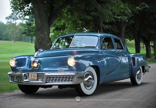 1948 Tucker Torpedo, only 50 ever made. First car with seat belts and a front windshield that would pop out in the event of an accident. 3 headlights the middle one would turn the same direction as the wheels. At the time it was the safest car you could own, so far ahead of its time