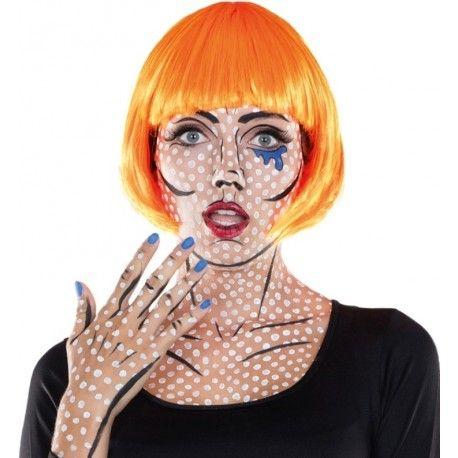 Perruque courte fluo orange femme