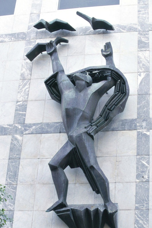 Sculpture called 'Progress'. On David Jones' building, North Terrace, Adelaide.