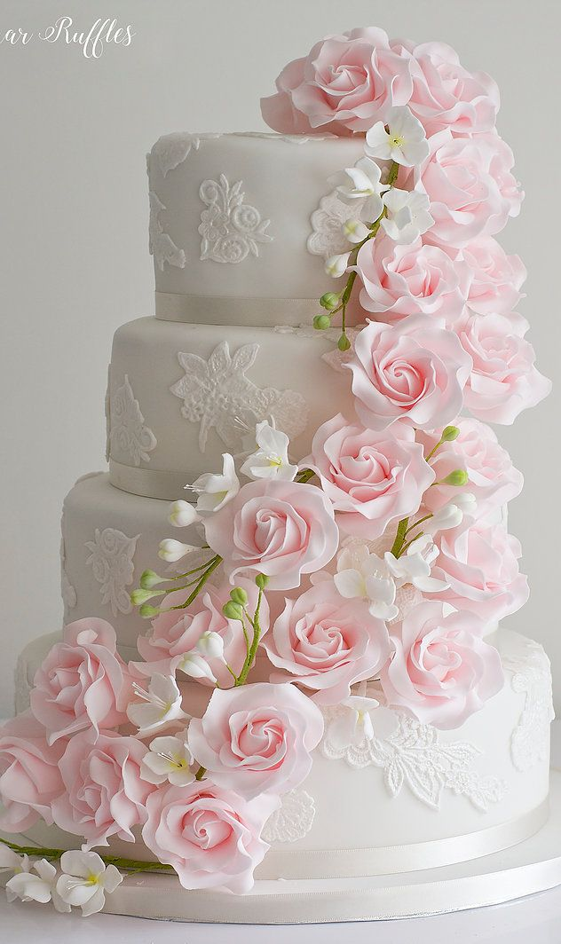 Pink Cascade Wedding Cake