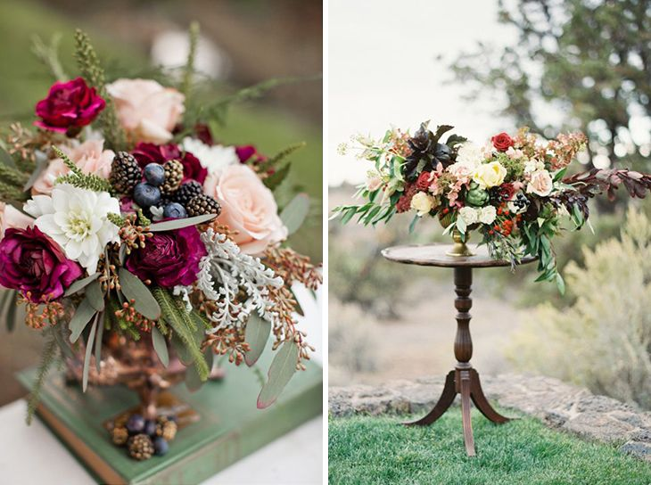 Палитра для осенней свадьбы: букеты, декор и оформление в винном цвете