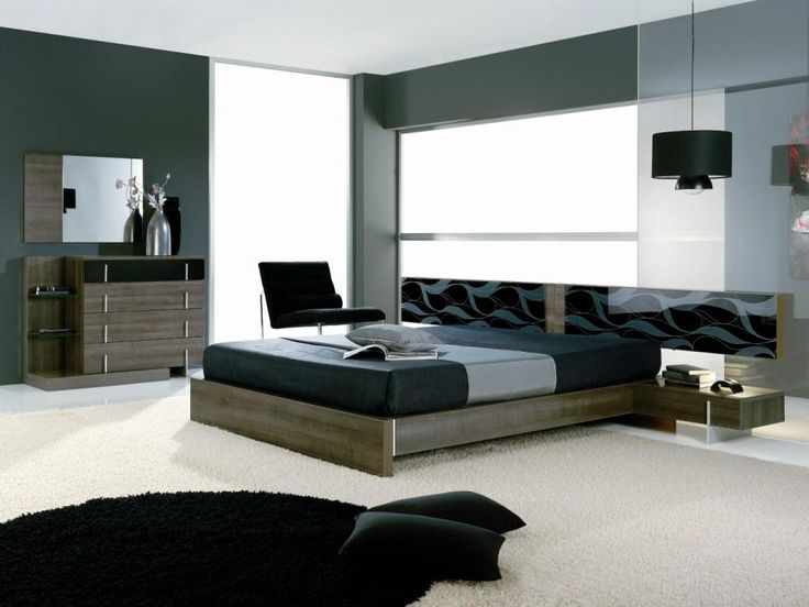Bedroom. Wooden Bedroom Furniture And White And Black Fur Rug Mixed With Soft Dark Wall And Pendant Lamp