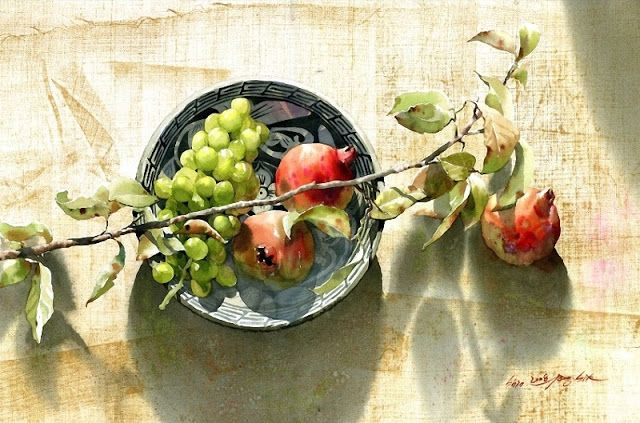 "Korean Watercolor Painter ""Shin Jong Sik"" 我把秋山装陋室"