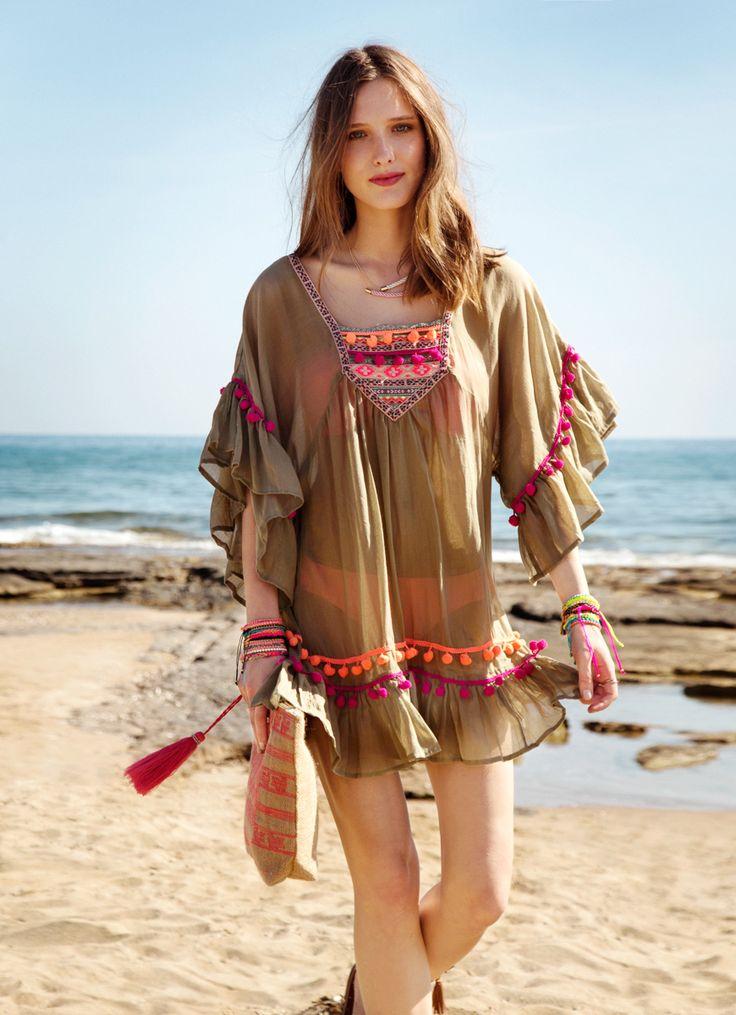 beach dress with pom pom /boho beach