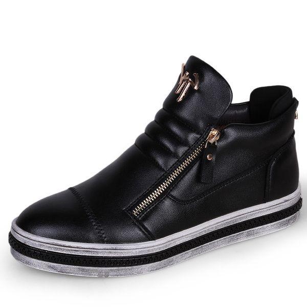 Зимние ботинки плюс бархат мужской корейской мужская обувь прилив Британские Синтетическая кожа 2016 новые кожаные туфли теплые ботинки